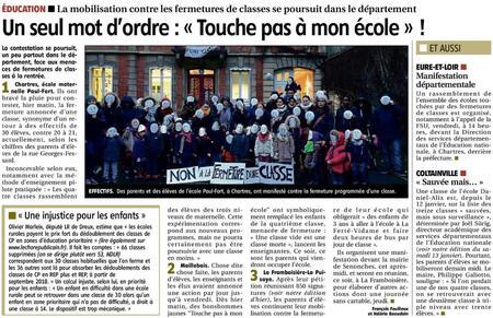 Er 2018 01 23 P5 E&L Écoles Carte Scolaire Fermetures Maillebois La Framboisière La Puisaye Chartres Paul Fort Maternelle Grève Pétition Manidestation